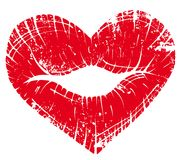 Lip print heart Stock Photo