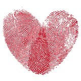Lip print heart. Vector heart, man and woman fingerprint valentine romantic background. Design element Stock Photography