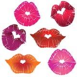 Lip print heart. Vector lip heart hole, print valentine kiss set, romantic background. Design element Royalty Free Stock Images