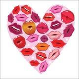 Lip print heart Stock Photo