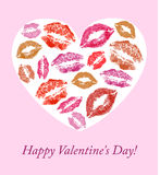 Lip prints on the background of hearts Royalty Free Stock Image