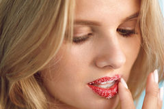 Lip Skin Care. Beautiful Woman With Sugar Lip Scrub On Lips. Lip Skin Care. Closeup Of Beautiful Young Woman With Fresh Beauty Face, Soft Pure Skin And Sweet royalty free stock photography