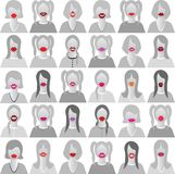 Lip smile set icons Royalty Free Stock Images