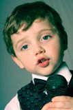 Lip syncing boy Royalty Free Stock Images