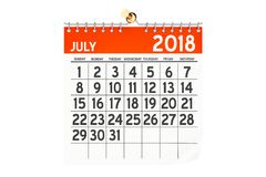 Lipa 2018 kalendarz, 3D rendering Fotografia Stock