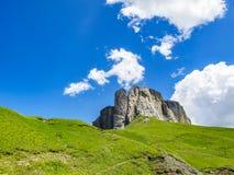 Lipa wysokogórski widok od Sella przepustki w dolomitach, Południowy Tyrol, Włochy Fotografia Royalty Free