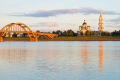 Lipa zmierzch na Volga rzece Rybinsk, Rosja Obrazy Stock