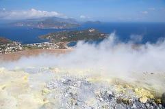 Lipari,Aeolian Islands,Italy. Fumaroles on the volcano Gran Crater, Volcano Island,Aeolian (Lipari) Islands, Italy Royalty Free Stock Images