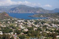 Lipari,Aeolian Islands,Italy. Porto Levante on the Island Vulcano  and Island Lipari, Aeolian (Lipary) Islands, Italy Stock Photography