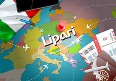 Lipari city travel and tourism destination concept. Italy flag a stock illustration