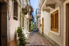 Lipari colorful old town narrow streets stock images