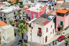 Lipari colorful old town streets stock images