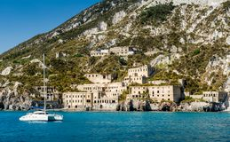Lipari island. And ancient fortifications view from cruise sailing boat Royalty Free Stock Image