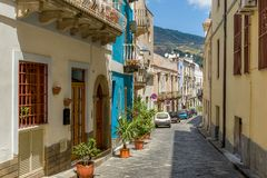 Lipari island colorful old town narrow streets Stock Photography