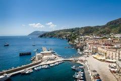 Lipari island marina. Lipari island yacht marina landscape. Sicily, Italy Stock Images