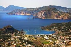 Lipari island. View from Vulcano island on the rocks  of  Lipari island Stock Photography