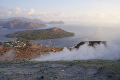 Lipari Islands. View from the top of Grand Crater to Lipari Islands, south Italy Royalty Free Stock Photo