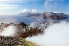 Lipari Islands active volcano Royalty Free Stock Photos