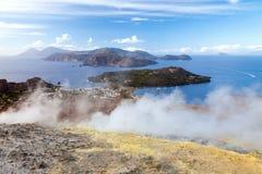 Lipari Islands active volcano Stock Image