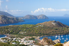 Lipari Islands. An image of the active volcano islands at Lipari Italy Royalty Free Stock Images