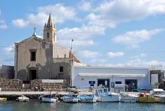 Lipari, Italië, Mening van jachthavencorta stock fotografie