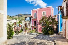 Lipari old town streets. Lipari colorful old town streets. Sicily, Italy touristic places Royalty Free Stock Photos