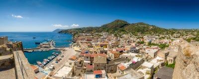 Lipari pamorama. Lipari island and city high definition panorama landscape Stock Photo