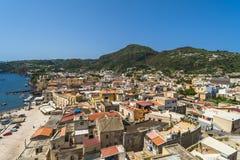 Lipari port on the isle of Lipari, Sicily. View of Lipari town on the island of Lipari near Sicily Royalty Free Stock Photo