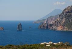 Lipari, saline, îles éoliennes, Italie Images libres de droits