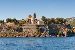 Lipari, view from the sea. View of of Lipari island, Sicily Royalty Free Stock Photo