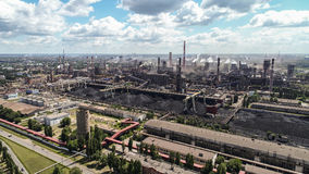 Lipetsk, Россия - 11-ое июля 2017: Взгляд сверху группы металлургического предприятия NLMK Стоковое Изображение RF