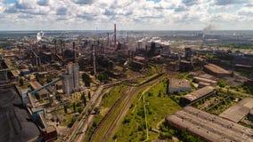 Lipetsk, Россия - 11-ое июля 2017: Группа металлургического предприятия NLMK Общий вид от высоты Стоковые Изображения RF