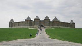 LIPETSK REGION, RUSSIA - MAY 10, 2019: Family Ethnic Amusement Park Kudykina Gora. Monument of Russian fairytale three. Headed dragon Zmey Gorynych. Way to stock video