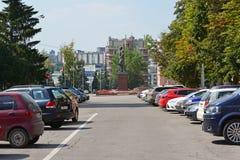 Lipetsk, ROSJA - 05 08 2015 Katedry whith Kwadratowy zabytek Lenin Fotografia Stock
