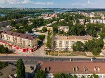 Lipetsk, Rusia - 5 de agosto 2018 vista del distrito de Levoberezhny y de la calle de Zoya Kosmodemyanskaya Fotografía de archivo libre de regalías