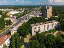 Lipetsk, Rusia - 5 de agosto 2018 vista del distrito de Levoberezhny y de la calle de Zoya Kosmodemyanskaya Fotos de archivo