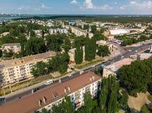 Lipetsk, Rusia - 5 de agosto 2018 vista del distrito de Levoberezhny y de la calle de Zoya Kosmodemyanskaya Fotos de archivo libres de regalías