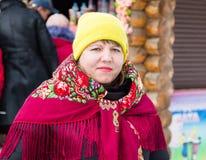 LIPETSK, RUSLAND - Februari 18, 2018: Mensen op Maslenitsa Russische heidense vakantie Stock Fotografie