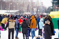 LIPETSK, RUSLAND - Februari 18, 2018: Mensen op Maslenitsa Russische heidense vakantie Royalty-vrije Stock Foto