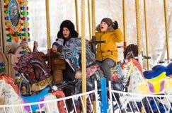 LIPETSK, RUSLAND - Februari 18, 2018: Mensen op Maslenitsa Russische heidense vakantie Stock Afbeelding
