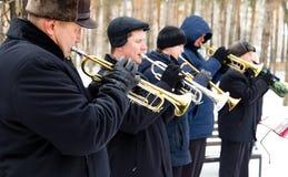 LIPETSK, RUSSIA - February 18, 2018: Musicians at the festival Maslenitsa . Russian pagan holiday. LIPETSK, RUSSIA - February 18, 2018: Musicians at the festival Stock Images