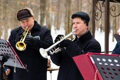 LIPETSK, RUSSIA - February 18, 2018: Musicians at the festival Maslenitsa . Russian pagan holiday. LIPETSK, RUSSIA - February 18, 2018: Musicians at the festival Stock Image