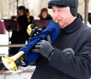 LIPETSK, RUSSIA - February 18, 2018: Musicians at the festival Maslenitsa . Russian pagan holiday. LIPETSK, RUSSIA - February 18, 2018: Musicians at the festival Royalty Free Stock Photo