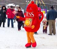LIPETSK, RUSSIA - February 18, 2018: People on Maslenitsa. Russian pagan holiday. LIPETSK, RUSSIA - February 18, 2018: People on Maslenitsa Russian pagan holiday Royalty Free Stock Images