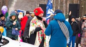 LIPETSK, RUSSIA - February 18, 2018: People on Maslenitsa. Russian pagan holiday. LIPETSK, RUSSIA - February 18, 2018: People on Maslenitsa Russian pagan holiday Stock Image