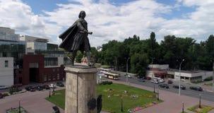 Lipetsk, Russia - July 11. 2017. flight around the monument to Peter I. Lipetsk, Russia - July 11. 2017. a flight around the monument to Peter I stock footage