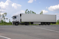 LIPETSK, RUSSIA - 29.05. 2015 White Renault semi-trailer truck at a  interurban road Stock Image