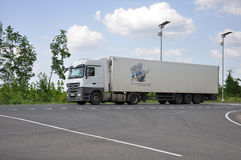 LIPETSK, RUSSIA - 29.05. 2015 White Renault semi-trailer truck at a  interurban road Royalty Free Stock Photo
