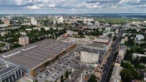 Lipetsk, Russie - 11 juillet 2017 Vue supérieure des achats de l'Europe et du centre de divertissement Photographie stock libre de droits