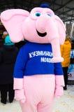 LIPETSK, RUSSLAND - 18. Februar 2018: Kleidung eines Tieres am russischen heidnischen Feiertag der Feiertag Pfannkuchen-Woche Lizenzfreies Stockbild